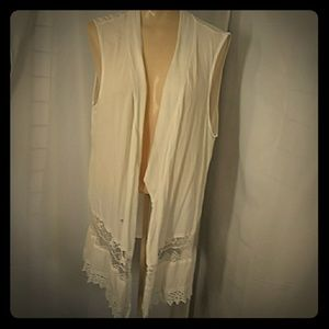 AB STUDIO Lacey White Gauze Vest